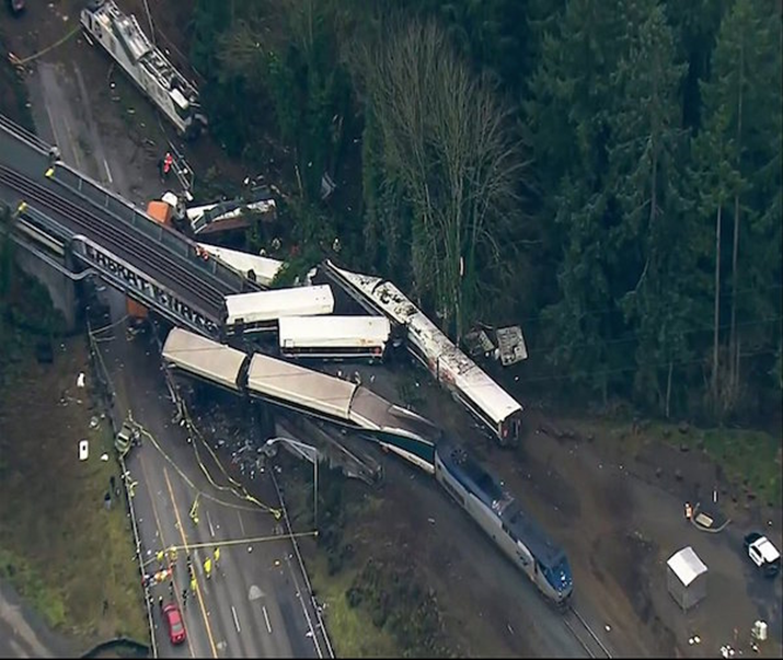 Amtrak Train Hurtles off Overpass; At Least 6 Killed