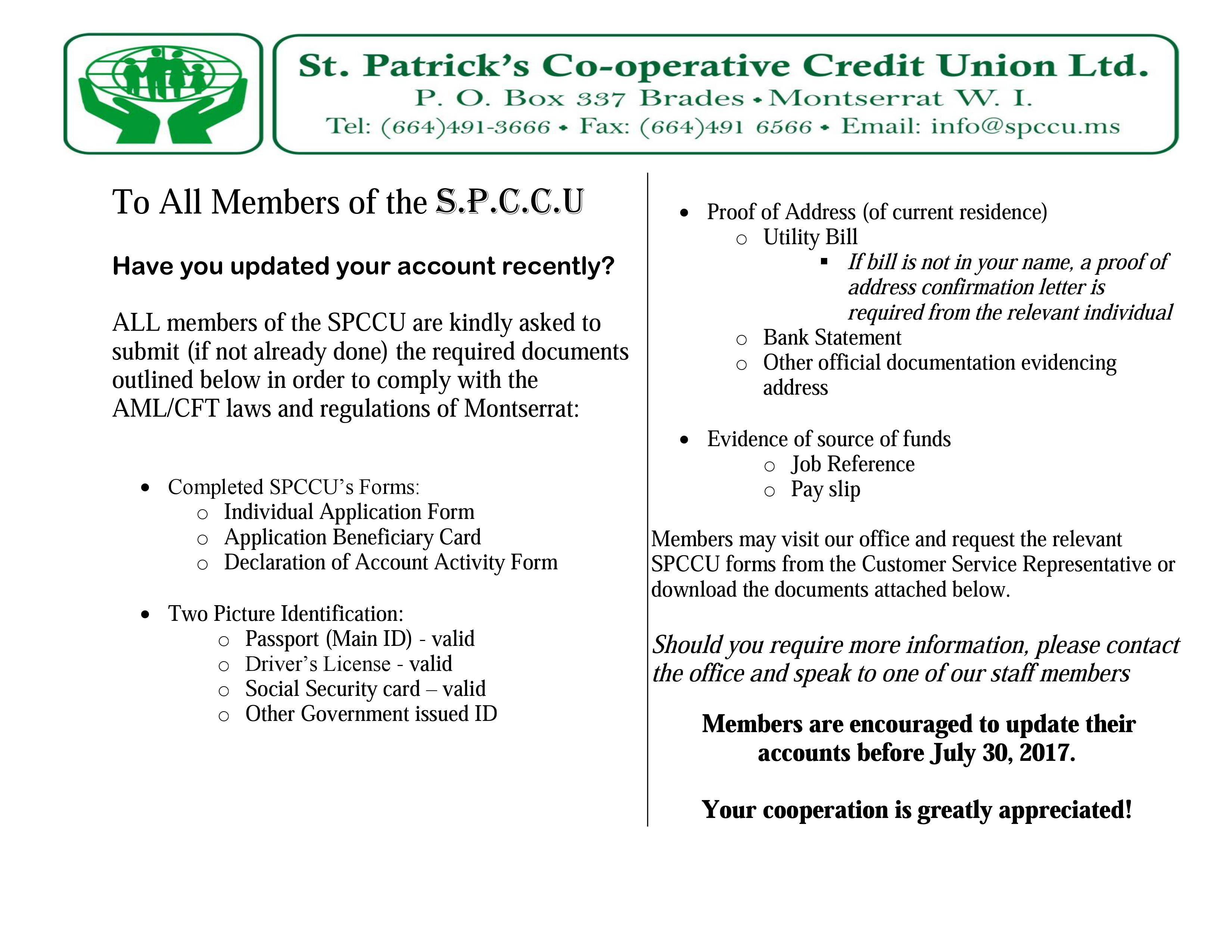 Important notice for all members of the st patricks co operative all relevant forms to do with this notice are also available below for download and submission to the spccu st patricks co operative falaconquin